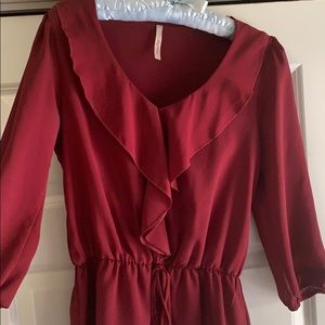 Cinched waist ruffled blouse!